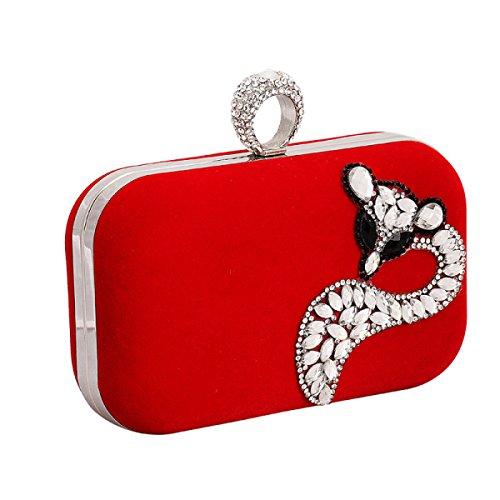 Strawberryer L'Europe Et Les États-Unis Fox Diamond-studded Velvet Evening Bag High-end Clutch Party Dress Décoration red