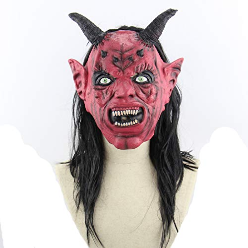 Satan Teufel Kostüm - Halloween Latex Maske Gruselig Rotes Gesicht Satan 3D Neuheit Beängstigende Teufel Kostüm Partei Cosplay Requisiten Rollenspiel Spielzeug