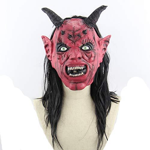 Halloween Latex Maske Gruselig Rotes Gesicht Satan 3D Neuheit Beängstigende Teufel Kostüm Partei Cosplay Requisiten Rollenspiel - Satan Teufel Kostüm