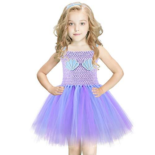 u Tütü Kleid Mädchen Tüll Tütü Lila Kinder Mermaid Baby Tütü Mädchen mit Stirnband für Geburtstagsfeier, Cosplay, Hochzeit,Halloween(2T) ()