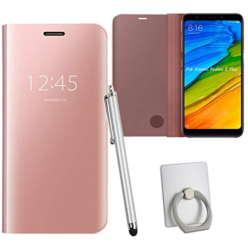 Guran® Mirror Efecto Espejo Funda para Xiaomi Redmi 5 Plus Clear View Función de Soporte Plegable Smartphone Funda Protectora (Oro Rosa)