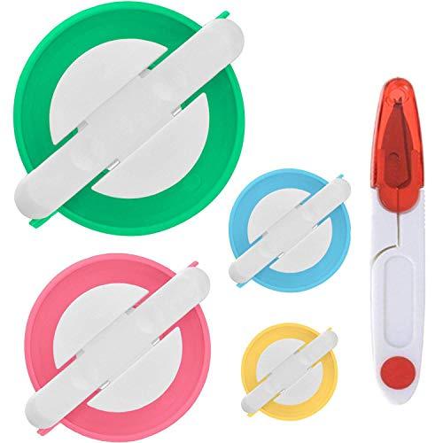 PANYTOW Juego de 4 tamaños de pompones para hacer pompones de bricolaje Kit de pelotas de peluche con una tijeras de corte de rosca
