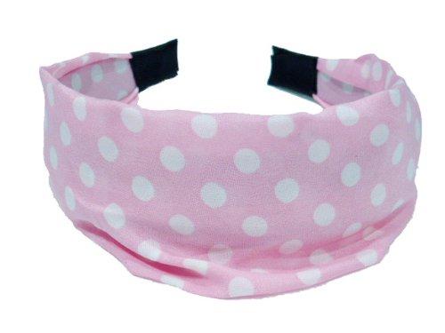 rougecaramel - Serre tête/headband/bandeau large motif pois - rose
