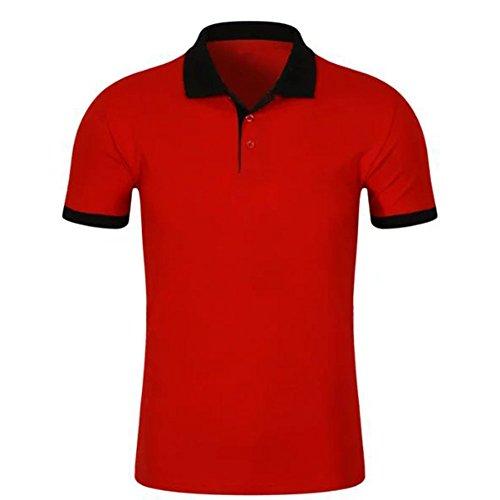 Demarkt Poloshirt Polohemd T-Shirts für Sport Freizeit und Arbeit Baumwolle Rot und Schwarz 3XL Rot und Schwarz x 2XL
