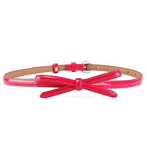 Damen Gürtel Skinny Belt Bow Kette Elastischer Taillenbund Bund (Farbe : Rose rot) -