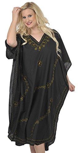 La Leela concepteur brodé femmes plage taille plus longue caftan caftan Or