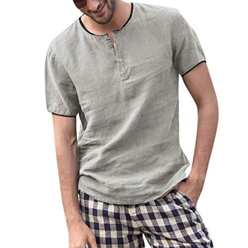 HEETEY Herren Sommer T-Shirt, Männer Baggy Volltonfarbe Baumwolle Leinen Kurzarm Knopf Plus Größen-T-Shirt übersteigt Bluse Poloshirts Kurzarm Slim Fit Sommer T-Shirt Men's Piqué Polo Shirts