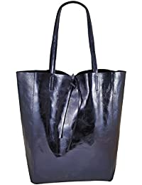 36dbd2bfe9584 Freyday Damen Echtleder Shopper mit Innentasche in vielen Farben  Schultertasche Henkeltasche Metallic look