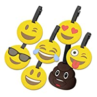 Xena 7 Piece Emoji Suitcase Travel ID Label Tag Holders Carry On Luggage Handle ID Tags Bright Suitcase Backpack Travel ID