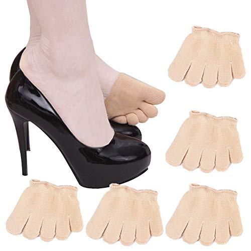 REKYO 10 Paar Baumwollsocken Toe Topper für Frauen Peep Toe Socken Vorfuß Socken Deckel eine halbe Handfläche Zehensocken für Pumpen und Erbsen Schuhe (10-skin-all) -