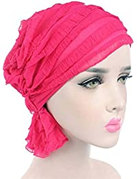 ZYCC Cáncer Cabeza de Chemo Bufanda Sombrero Gorro Étnico Tela Imprimir Turbante Sombreros Mujeres Ruffle Bufanda Bufanda Musulmana Pañuelo