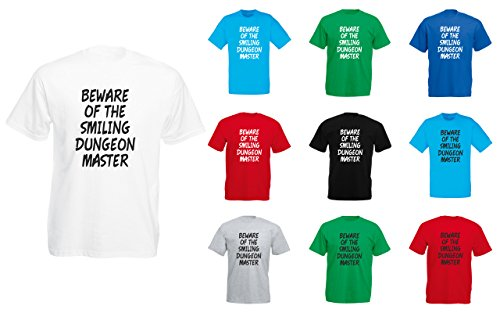 Brand88 - Beware Of The Smiling Dungeon Master, Mens Printed T-Shirt