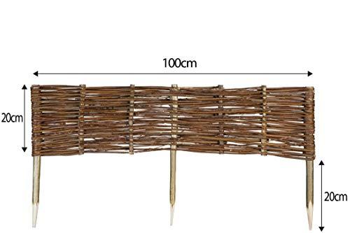 Mcsammler Weide Beeteinfassung in 16 Größen Weidenzaun Rasenkante Beetbegrenzung Steckzaun imprägniert mit Buchepflöcken für leichtes Einsetzen Länge: 100 cm Höhe: 20 cm