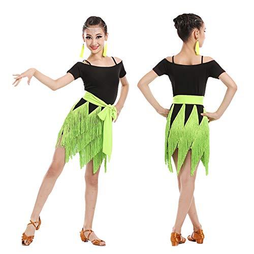 HUO FEI NIAO Latin Dance Dress Quaste Kurze Ärmel Mädchen Wettbewerb Anzug (Farbe : Green, größe : ()