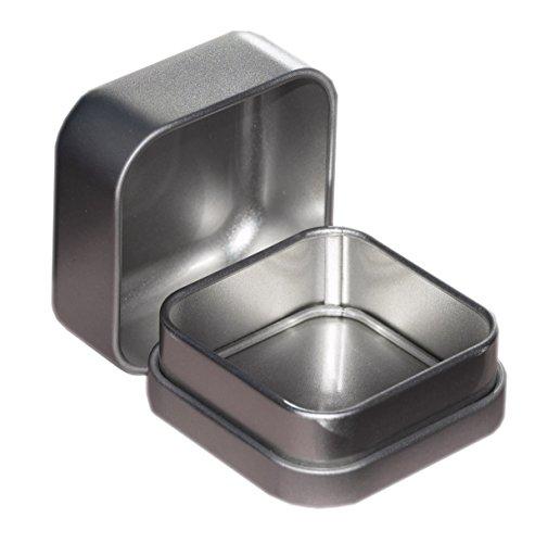 Preisvergleich Produktbild Schmuckdöschen 60x60x35mm - kleine Alu Schmuckdose - Ringdose ideal für Ringe,  Edelsteine oder Perlen