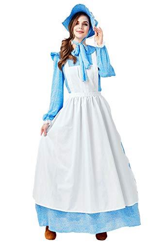 Tollstore Damen Pionier Colonial Bauer Kostüm, Viktorianische Maid Kostüm Bauer Dienstmagd büchertag Kostüm Prairie Kleid mit Schürze und Mütze XL (Mädchen Colonial Girl Kostüm)