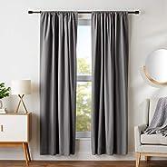 "AmazonBasics Room Darkening Blackout Curtain Set of 2 with Tie Backs - 245 GSM - (7 Feet - Door) 52"" x 84"