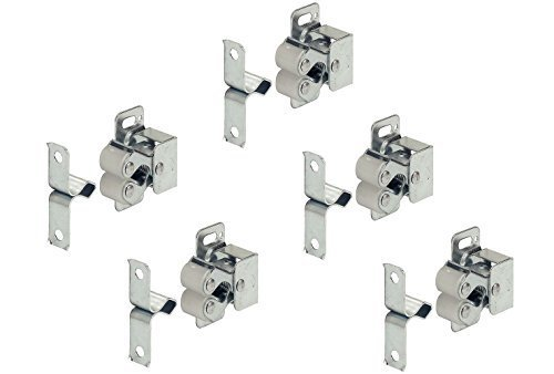 Preisvergleich Produktbild 5 Stück - Doppel-Rollenschnäpper Kugelschnapper aus Stahl inkl. Gegenstück | Federschnapper Stahl verzinkt | Möbelschnäpper verstellbar | Möbelbeschläge von GedoTec (5 Stück - Rollenschnäpper)
