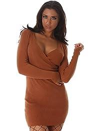 24brands Damen Sexy Pullover Longpullover Minikleid Strickkleid Pulli Wickeloptik Strech - 3174