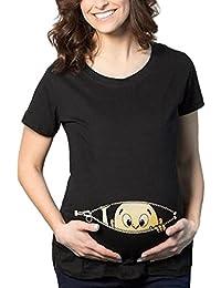 Cinnamou Blusa Embarazada Para Premamá,Camiseta de Maternidad de Manga Corta Top con Moda Algodón con Estampado de Linda…