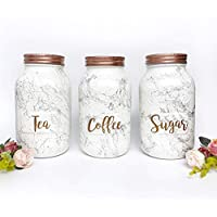 Delicieux Rose Gold Tea Coffee Sugar Set, Kitchen Canisters, Copper Kitchen  Accessories, Marble Mason