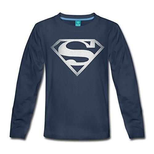 DC Comics Originals Superman Retro Symbol Teenager Premium Langarmshirt von Spreadshirt®, 158/164 (12 Jahre), Navy (Superman Kostüm Für Teenager Mädchen)