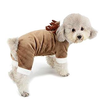 Zunea Small Dog Reindeer Costume Christmas Outfits Elk Design Fleece Hoodie Coat Winter Warm Puppy Pet Clothes Fancy Apparel for Xmas S 3