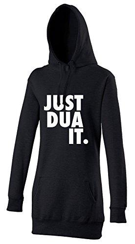 Marokkanische Kleidung Für Frauen (Just Dua It White Flowers Halal Damen Kapuzenpulli in Schwarz - Islamische Streetwear Kleidung von Halal-Wear Extra Lang und als Hijab geeignet Muslima (XL))