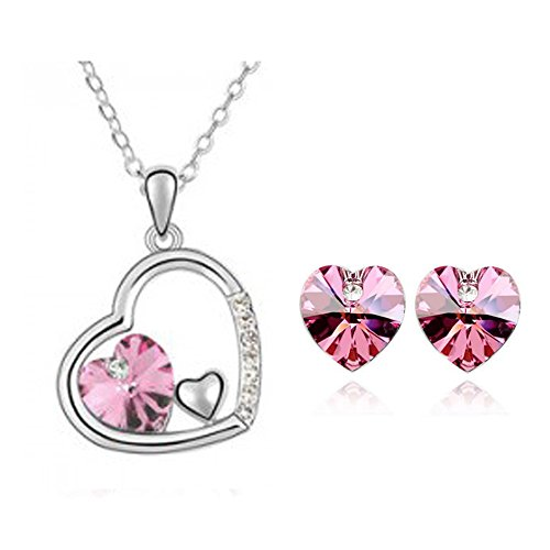 Neevas Austrian Crystal Heart Pendant Necklace Chain & Earrings Wedding Jewellery Set (Rose Red)