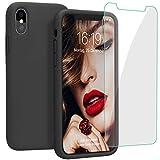 JASBON Hülle für iPhone XS Max, Silikon Handyhülle mit Kostenfreier Schutzfolie Schutz vor Stoßfest/Scratch Schutzhülle Bumper Case Cover für iPhone XS Max (6,5 Zoll) Schwarz