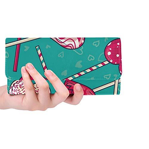 rdefinierte Bunte Liebe herzförmige Lutscher Candy Frauen Trifold Wallet Lange Geldbörse Kreditkarteninhaber Fall Handtasche ()