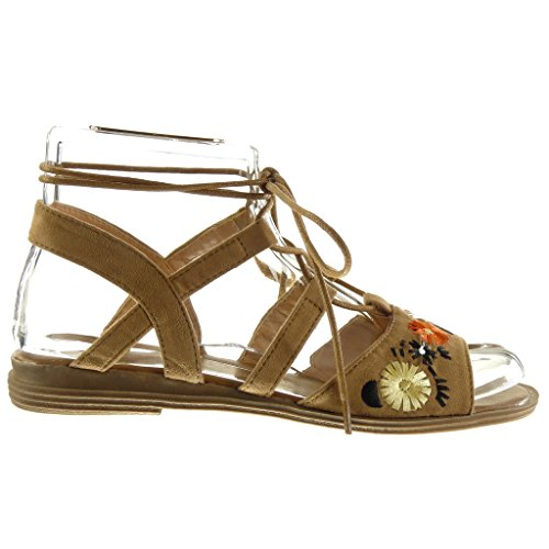 Angkorly Scarpe Moda sandali gladiatore aperto donna tanga fiori ricamo Tacco a blocco 2 CM Cammello