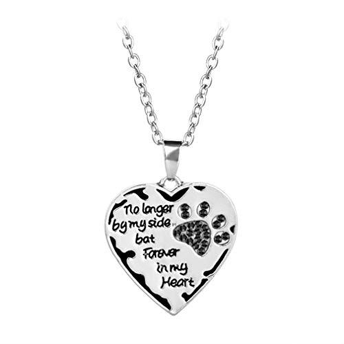 HYhy Pet Paw Halskette Love Heart Shape Anhänger Lange Halskette Schriftzüge Memorial Dog Cat Halskette, schwarz -