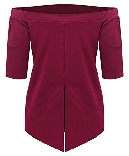 Blansdi Damen Sommer Schulterfrei 1/2 Ärmel Casual Oberteile Bluse Trägerlos Lose T-Shirt Hemd Rot