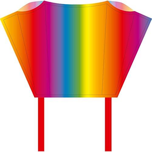HQ100081 -Sleddy Rainbow Kinderdrachen Einleiner, ab 5 Jahren, 50x76cm und 1.9m Drachenschwanz, inkl. 17kp Polyesterschnur 40m auf Spule, 2-6 Beaufort - Zwei Pocket-hose