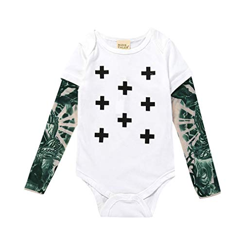 Yying Baby Mädchen Tattoo Gedruckt Langarm Patchwork Baumwolle Baby Strampler Neugeborenen Overall Kleinkind Stich Kostüm (Neugeborenen Baby Elefanten Kostüm)