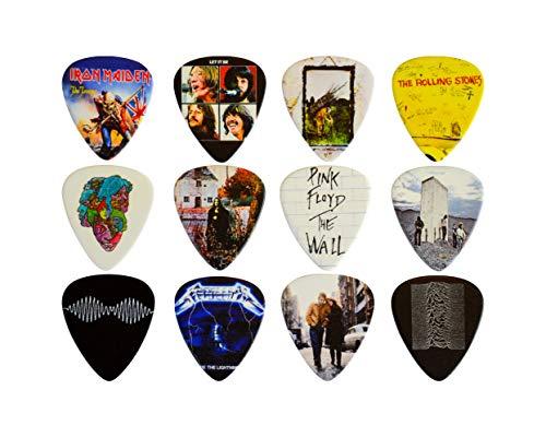 Gitarren Pick Set mit 12 klassischen Alben. Gitarren Plektren für jeden Gitarristen. Doppelseitiger Druck. 0,46, 0,71, 0,81, 0,88, 0,96 und 1,2 mm Plektren für Gitarre (Set 2) Klassisches 12