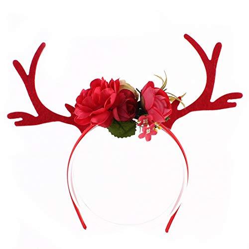 Dromensho Pflaumenblüten Weihnachten Ohr Stirnband DIY Fawn Festival Stirnband. (Color : Red)