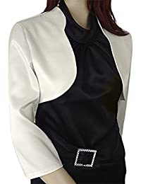 Satén Bolero 3/4Mangas Classic apto para para vestido de noche/Cóctel vestido/Boda Chaqueta Mujer en varios colores rojo negro plata blanco
