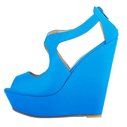 MERUMOTE Damen Y-007 Peep Toe Back Zipper Keil-Plattform High Heels Sandalen Hell Blau-Matte