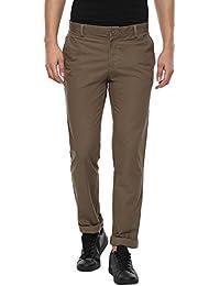 London Bridge Men's Light Brown Slim Fit Casual Trouser