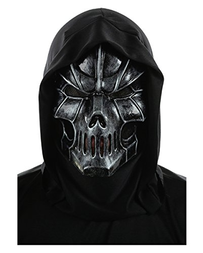 Doom Skull Maske für Halloween & Fasching (Schwarze Kunststoff Maske)