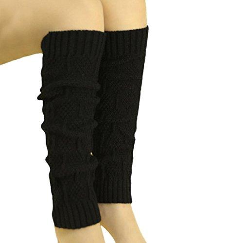 TWIFER Winter Damen Zopfmuster Stulpen Socken Beinwärmer (Schwarz, 46cm) (Stretch-stoff-schuhe Schwarz)