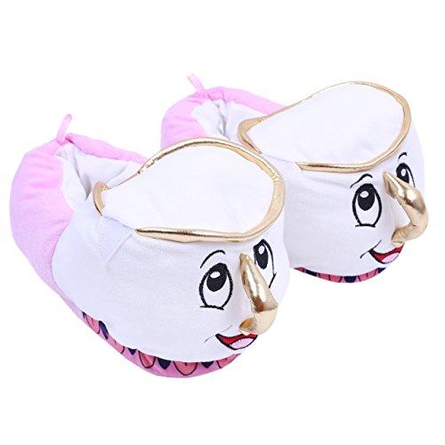 nd das Biest - Chip die Tasse Plüschhausschuhe Pantoffeln - 38-39 / UK 5-6 (Damen Disney Hausschuhe)
