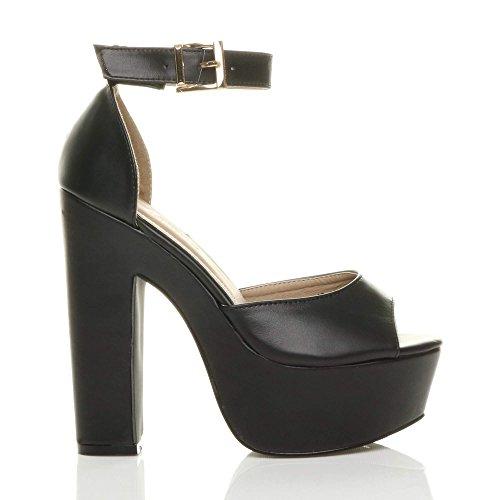 Ajvani Femmes talons hauts bout ouvert chaussures sandales compensées fête pointure Noir mat