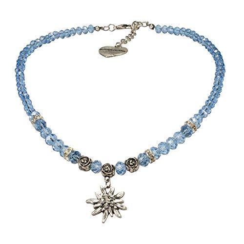 Alpenflüstern Perlen-Trachtenkette Fiona Crystal mit Strass-Edelweiß Klein - Damen-Trachtenschmuck Dirndlkette Hell-Blau DHK155