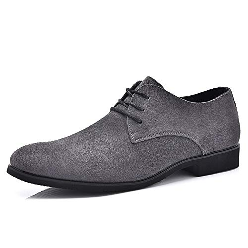 Apragaz mocassini eleganti da uomo in pelle con lacci oxford scarpe eleganti da lavoro in puro colore a punta (color : grigio, dimensione : 41 eu)