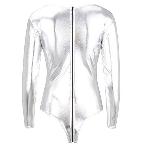 iEFiEL Body Damen Langarm Body Wetlook Zip Body Bodysuit Rundhals Wetlook Dessous Unterwäsche Silber