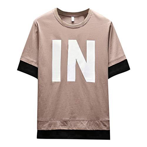 Herren Sommer Kurzarm Shirt Hemd Tops Eaylis GenäHte, Mit Buchstaben Bedruckte, Schmale Version des Hemdes Unter 4XL