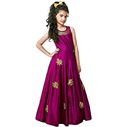 Sashay Boutique Designer Cute Kids Girls Readymade Gown Dress (8-9 Years, Red Violet)